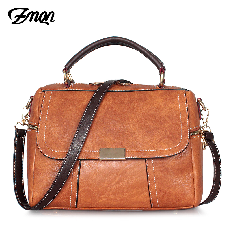 ZMQN Crossbody Bag For Women 2019 Vintage Small Cross Body Shoulder Bag Cheap Women Leather Handbag Female Boston Bag Brown C256