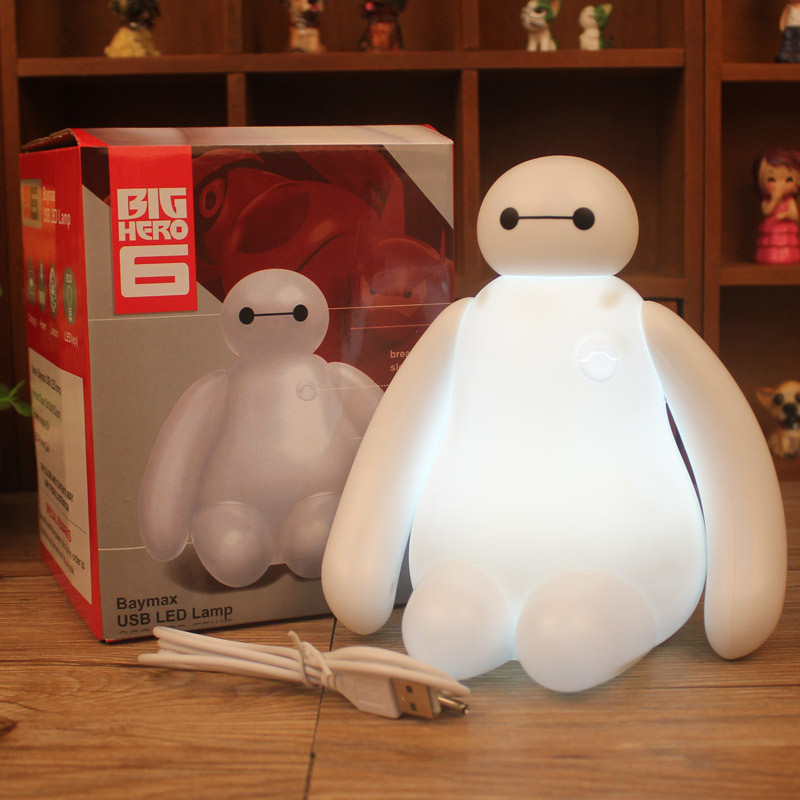 New rechargeable Lamp 16cm Big Hero 6 Baymax USB LED Night Light Creative RGB changeable baby bedroom Table Lamp