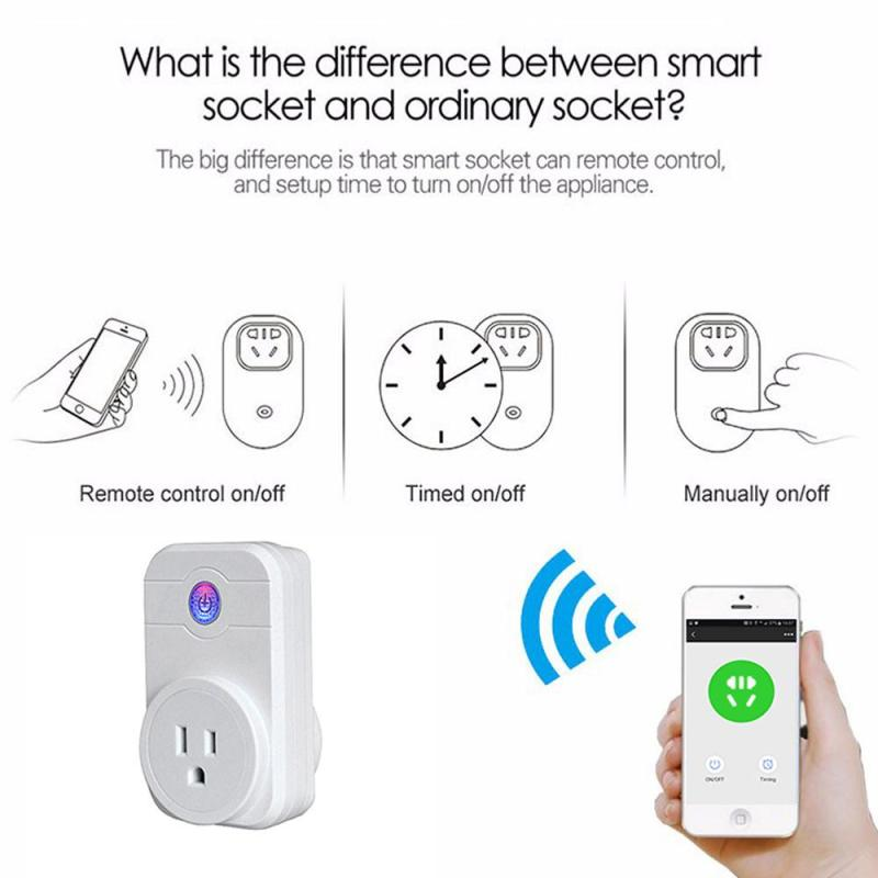 1pc UK EU US Plug Smart Power Socket AC 220v enchufe wifi App Control Home Automation Prise intelligente Soquete inteligente autoeye cctv camera power adapter dc12v 1a 2a 3a 5a ahd camera power supply eu us uk au plug