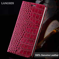 For Iphone 7 Crocodile pattern Genuine Leather case for iphone 6s X XR 8 plus Luxury flip phone case shockproof for iphone XSMAX