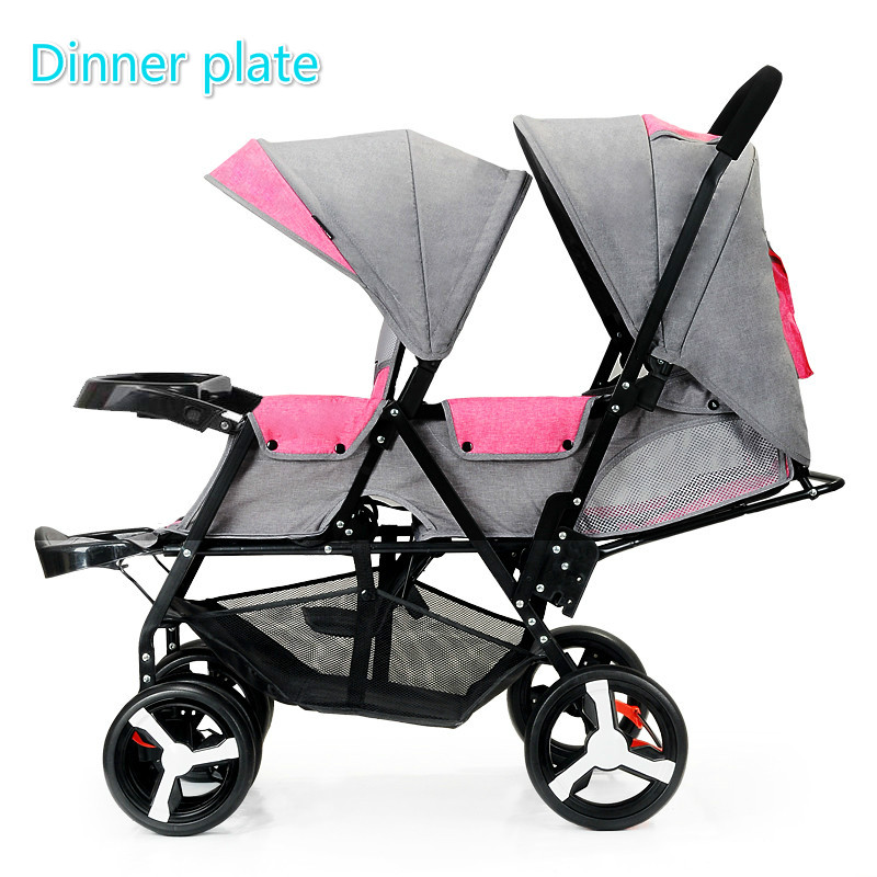 Front and Rear Seat Baby Twin Stroller Flat Lie Double Stroller Portable Folding Baby Stroller 2 In 1 Newborn Twins Baby Cart