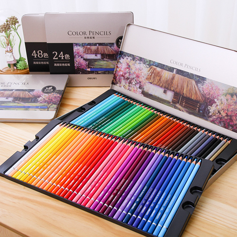 DELI HB Color Pencil Art Coloring Painting Wooden Colored Pencils 24/36/48/72 Colors Colored Pencil Gift Box Set Painting Supply