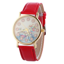 Hot Sale Women Watch Fashion Women's Bike Pattern Leather Quartz Wrist Watch Casual Dress Watches Clock Relogio Feminino
