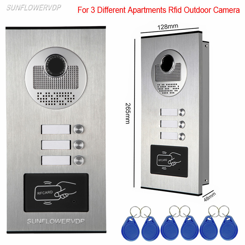 Access Control Rfid Unlock Intercom Video Intercoms For 3 Apartments Video Eyes For Doors Doorphone 3 Keys Outdoor CCD Camera royce 14 14 14