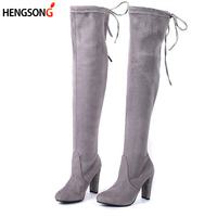 Women Stretch Faux Suede Slim Thigh High Boots Sexy Fashion Over The Knee Boots High Heels