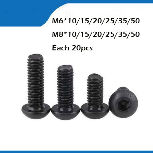 Free shipping M6/8 black Hex socket Round Button Head Screw Screws with high quality universal three inserted multifunctional tabletop french socket with rj45 black silver free shipping