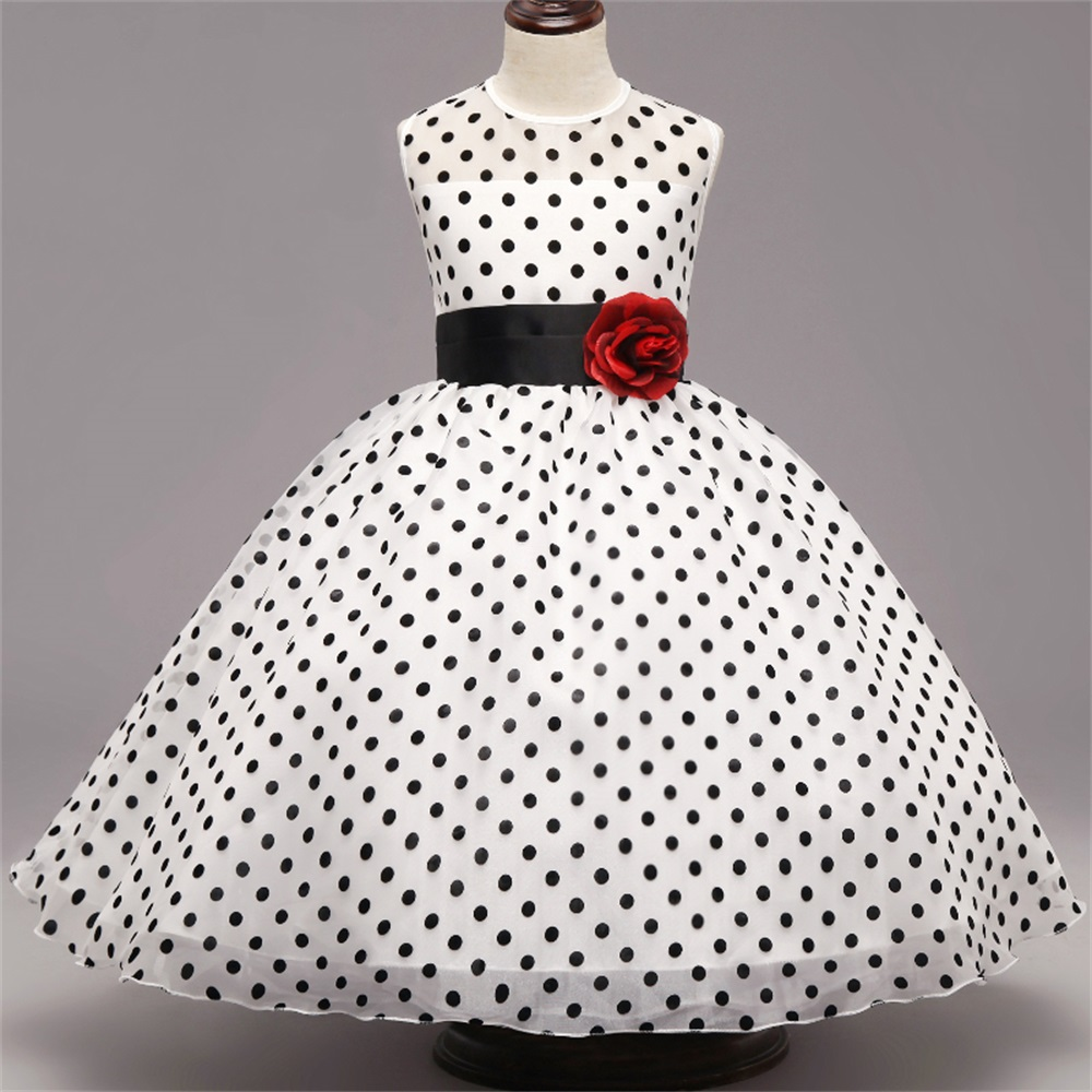 Polka Dots Cartoon Dress Birthday Wedding Party Princess Girls Dresses for Kid