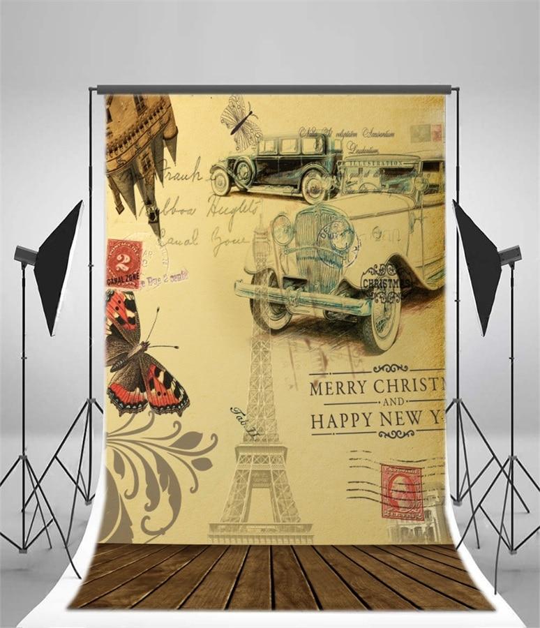 Laeacco Old Postcard Cars Eiffel Tower Paris Pattern Wood Floor ...