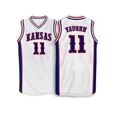 #11 Jacque Vaughn Kansas Jayhawks BASKETBALL JERSEY WHITE,blue,Custom ANY SIZE,throwback Stitched Basketball Jersey
