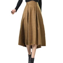Women's Skirts Tartan Kilt Plaid Skirts Plus Size Thick Winter Vintage Woolen Umbrella Long High Waist Pleated Plaid Skirts