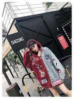 Melinda Style 2017 new women fashion jacket denim patchwork letter appliques decorated jean coat outwear free shipping