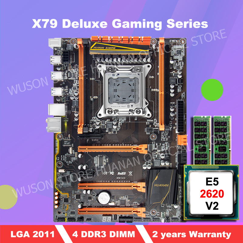 Motherboard with M.2 slot HUANAN ZHI deluxe X79 gaming PC motherboard with CPU Intel Xeon <font><b>E5</b></font> <font><b>2620</b></font> <font><b>V2</b></font> 2.1GHz RAM 2*4G DDR3 RECC image