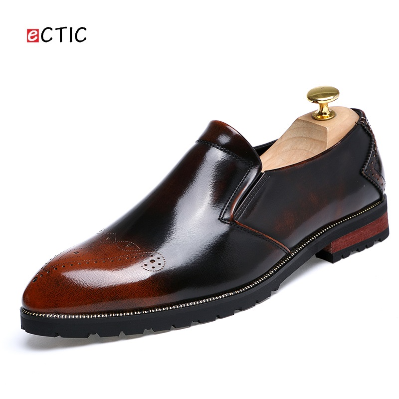 Mens Casual Shoes Patent Leather Handmade Formal Flats Shoes Wedding Dress Brogues Oxfords Derby Shoes Zapatos