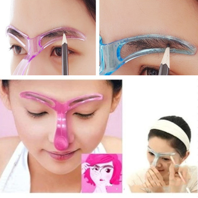 TOP Eyebrow Stencils Shaping Grooming Eye Brow Make Up Model Template Reusable Design Eyebrows Styling Tool