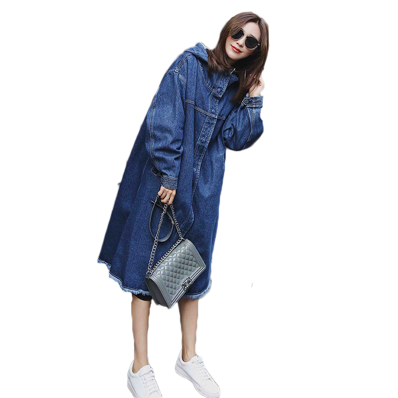 Women denim Trench Coat 2018 New Autumn And Winter Female loose Casual Hooded long section bat sleeve Denim Outerwear women 2016 autumn winter women s casual fashion not as long as before and after long section side seam zipper bags seven snowflakes