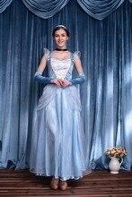 Ensen Princess Anna Elsa Queen Girls font b Cosplay b font Costume Dress sky blue dress