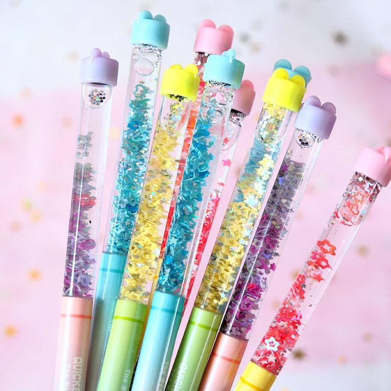 Fairy Stick Gel Pen 0.5mm Drift Sand Glitter Stars Heart Pens Kawaii Rainbow Colorful Ball Pen For Girls Gift Novelty Stationery