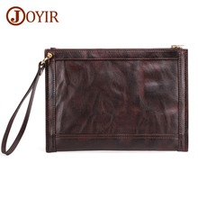 JOYIR Men Handbag Cow Leather Envelope Bag Genuine Day Cluches Fashion Soft Large Capacity Wallet Clutch