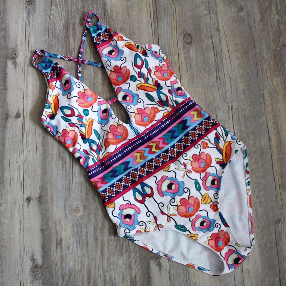 Sexy One Piece Swimsuit Women Swimwear Floral Printed High Cut Bodysuit 2018 Bandage One-piece Bathing Suit monokini 1