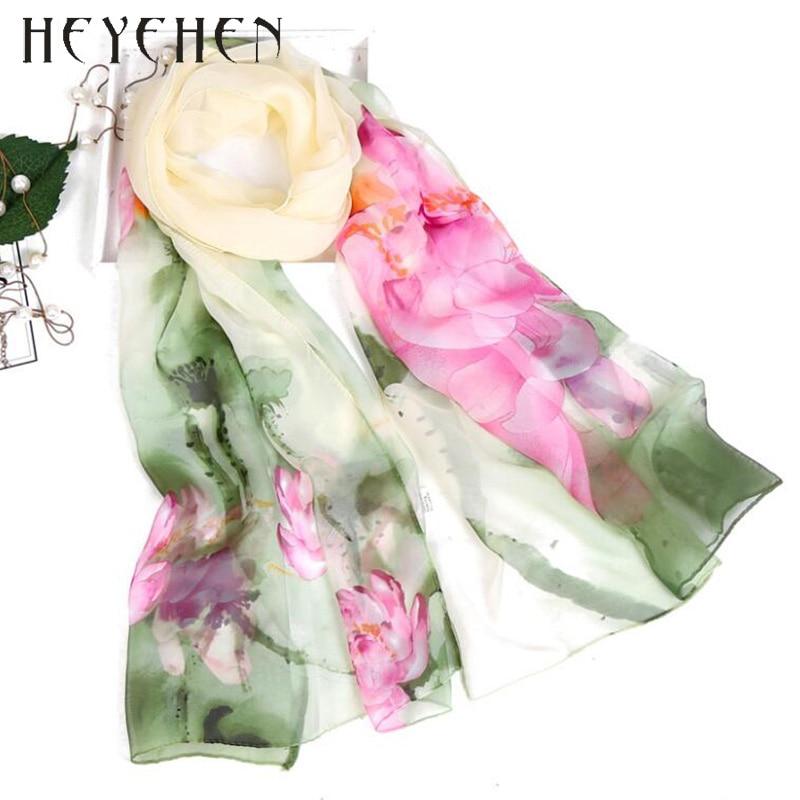 2017 New Fashion Women Foulard Chiffon Georgette Silk Scarf Lotus Leaf Flower Print Sunscreen Bandana Long Shawl Polka Wrap HY92