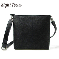 Sight Focus Dark Gray Woman Felt Bag Ladies Side Crossbody Bags Vilten tas Felt Messager Shoulder bag Simplicity Square Bags