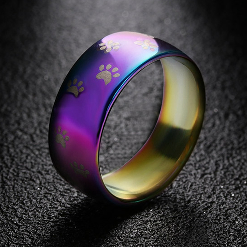 Cute Cat Dog Paw Ring Jewelry Width 8mm Stainless Steel Rainbow Rings for Men and Women Pet Animal Jewelry Lover Gift ring jewelry rainbow ringrings for men - AliExpress