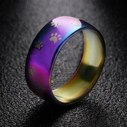 Sprytny kot pies łapa pierścień biżuteria szerokość 8mm ze stali nierdzewnej Rainbow pierścienie dla mężczyzn i kobiet domowych biżuteria dla zwierząt kochanka prezent