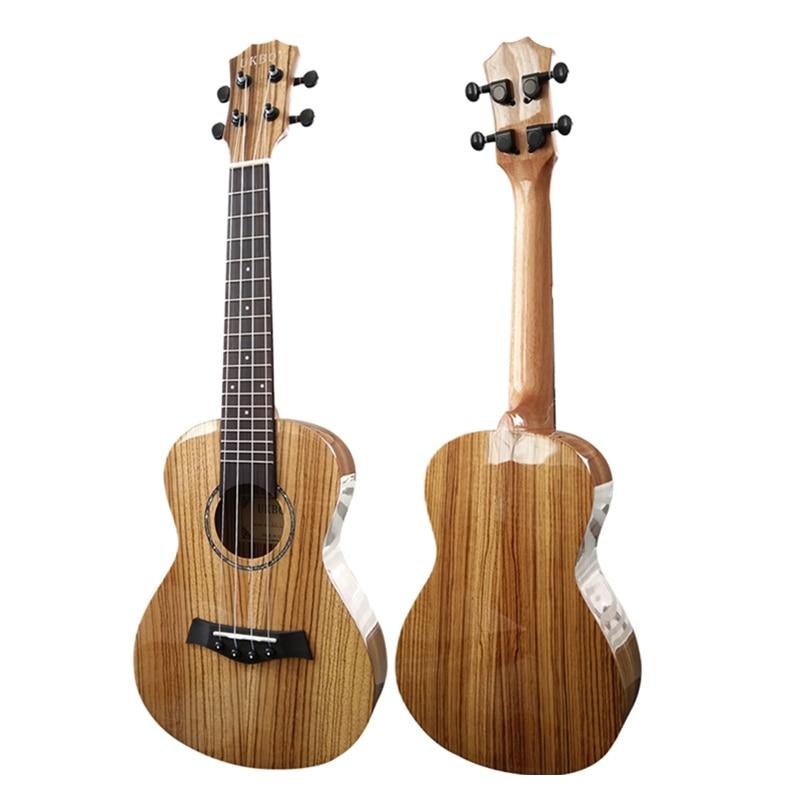 high quality 23 inch all Zebrawood Glossy Ukulele 18 copper frets Aquila Nylon strings Ukelele Mini Hawaii Guitar