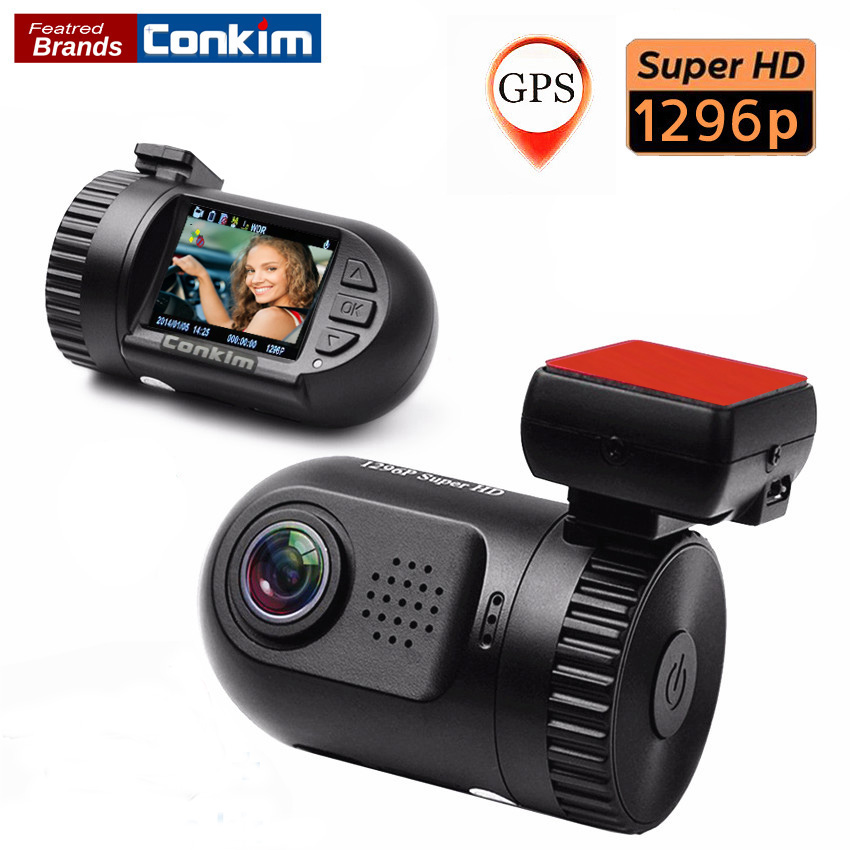 Conkim Mini 0805 1080P Full HD GPS Perekam Video Mobil Kamera DVR Ambarella A7LA50 1296P Super HD HDR LDWS Mobil recorde