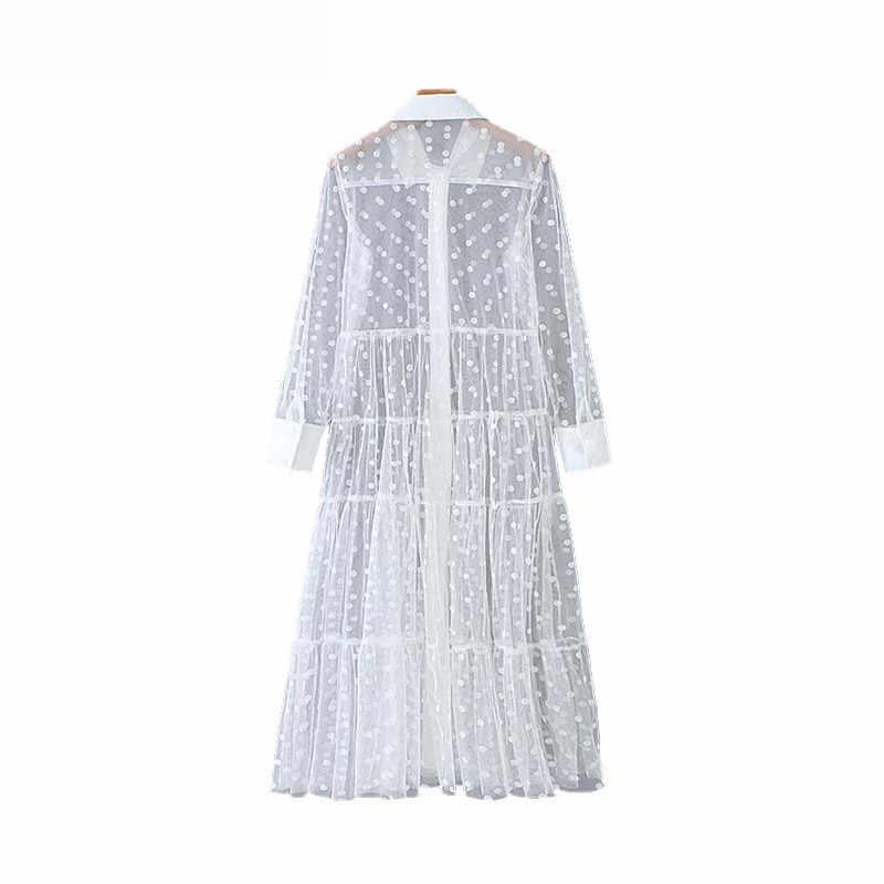 Винтажное стильное Сетчатое платье миди в горошек для женщин 2019, модная рубашка с воротником и длинным рукавом, прозрачные платья повседневные платья Mujer