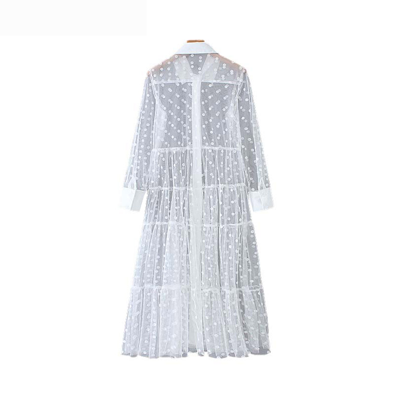 Vintage Stylish Mesh Polka Dot Midi Dress Women 2019 Fashion Shirt Collar Long Sleeve See Through Dresses Casual Vestidos Mujer