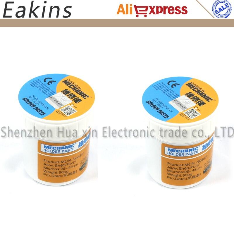 2pcs/lot 100% MECHANIC BGA Solder Flux Paste Soldering Tin Cream Sn63/Pb37 25-45um MCN-906SBI XG-40 500g