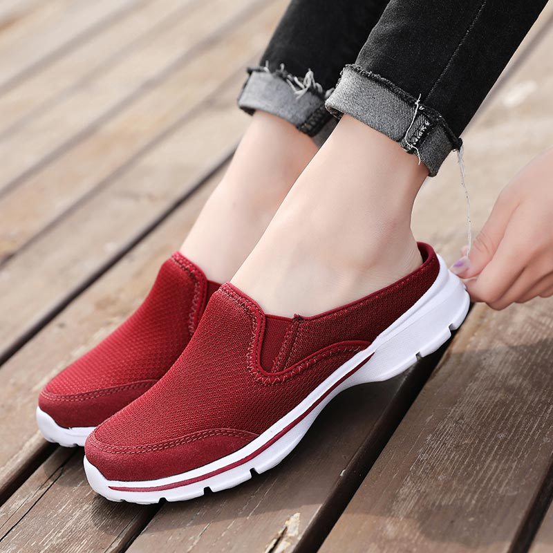 Big Size Half Women Sports Shoes 2019 Mesh Sneakers For Running Lightweight Sport Shoes Slip On Red Slip-on Summer Tennis B-327