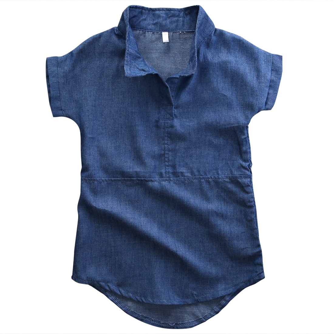 Children Girls summer loose casual blue solid Short Sleeve Princess Party Denim straight font b Dress