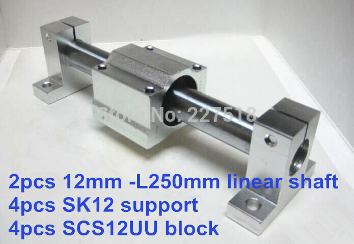 12mm linear set: 2pcs 12mm - 250mm linear round shaft +4pcs SK12 shaft support+4pcs SCS12UU linear bearing block 4pcs sk12 sh12a 12mm linear rail shaft support block for cnc linear slide bearing guide cnc parts ali88