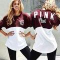 Новое Прибытие 2017 Женщины Весна осень длинные Рукава Футболки Повседневная розовый Письмо Печатный Топы Уличной Одежды Женщина