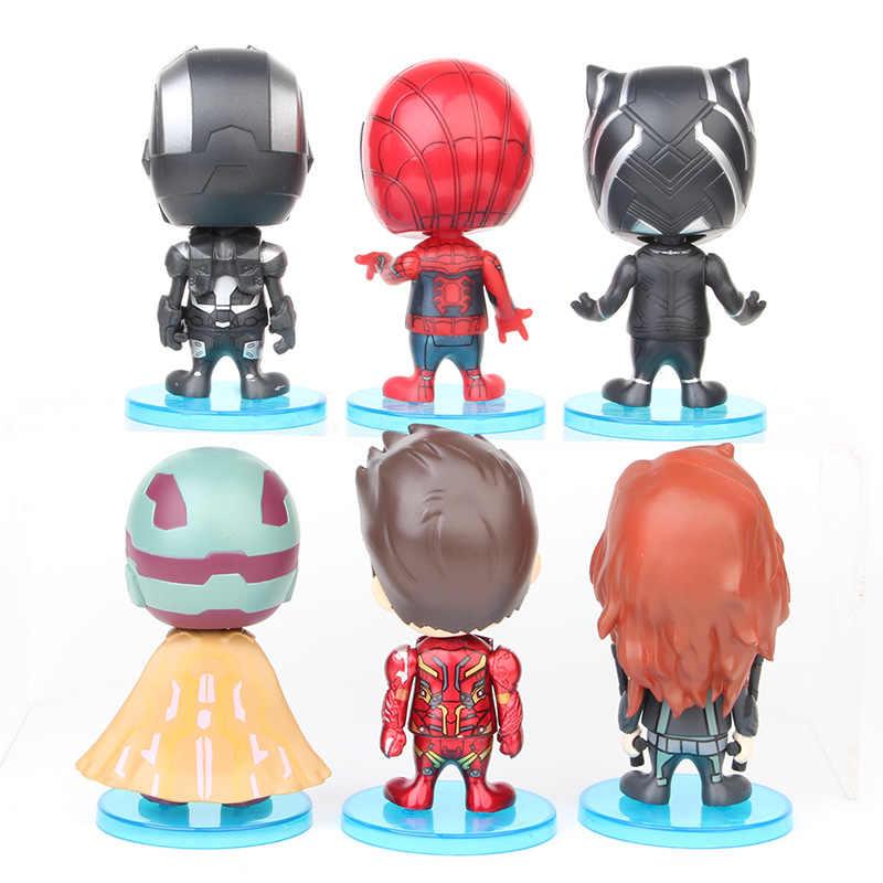 6 шт./компл. Мстители 4 встряхивания головы кукла Человек-паук Железный человек Черная пантера фигурка кукла Изысканный автомобиль украшения игрушки для детей