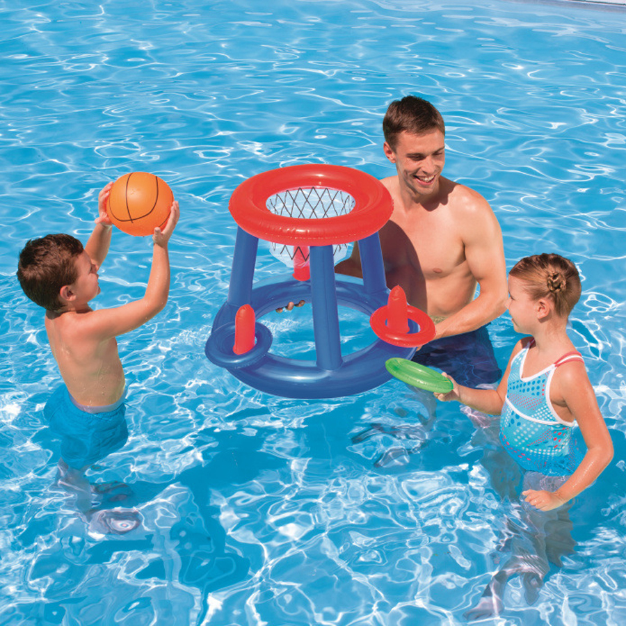Outdoor Fun Sports Pool Games Toys Inflatable Basketball For Family Party Classic Fun Game Toss Rings Children Water Play Toys falling tumbling monkeys fun party games