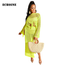 Hollow Out Knitted Transparent Skirt Set 2 Piece Set Fish Net Tassel Long Sleeve Crop Top Sexy High Split Skirt Club Outfits marled knit crop top with split skirt