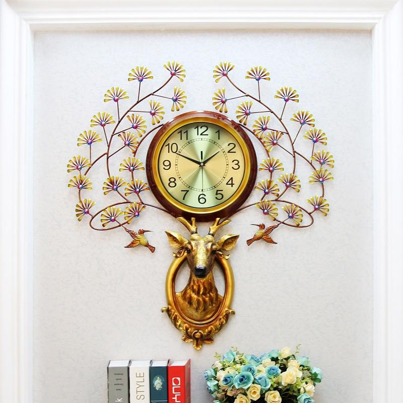 Nordic Deer head clocks Metal Quartz Pointer Digit Wall watch Hang decorations Creativity Living room Wall clock modern Clock