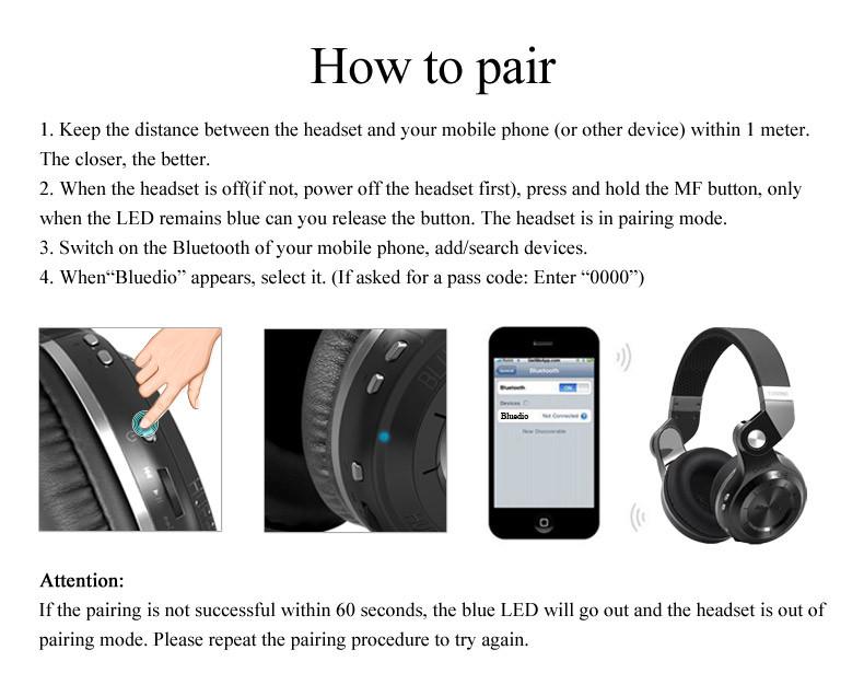 Наушники Wallytech Bluedio t2s bluetooth bluetooth 4.1 iphone samsung xiaomi htc