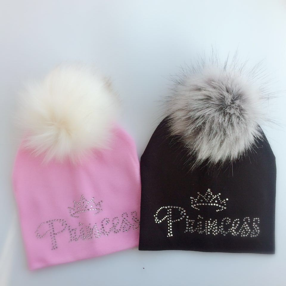 infant princess crown diamond embroidery flowers baby cotton raccoon Faux Fur pompom diamond hat cap beanie for girl and boy