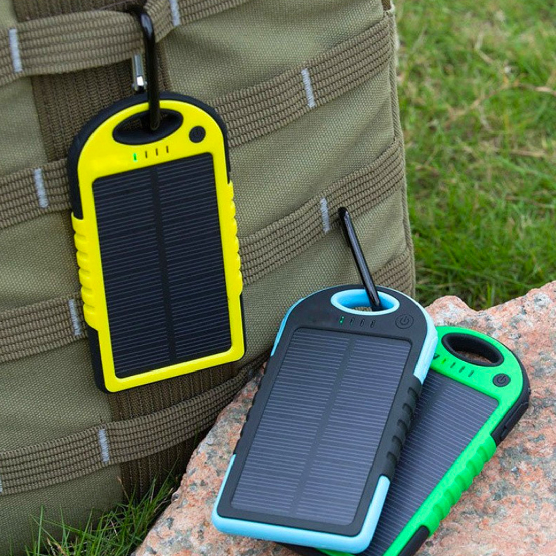 Centechia Waterproof Solar Power Bank Real 12000 MAh Dual USB External Port Polymer Battery Charger With Outdoor Light Lamp