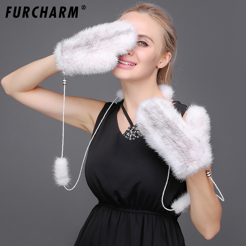 Mink Fur Gloves For Women High Quality Colorful Gloves Without Fingers Super Warm Mink Fur Knitted Mittens With Halter String