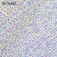 JUNAO 24 40cm Self Adhesive Clear Crystal AB Rhinestones Mesh Roll Strass Applique Resin Hotfix Crystals