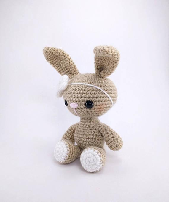 Amigurumi Haak bunny konijn speelgoed rammelaar Haak baby Speelgoed gift 3