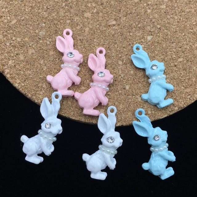 5 Adet 12*25 MM Trendy Emaye Alaşım Takı Charms Beyaz İnciler Dekore Kawaii Hayvan Tavşan Bilezik Yüzen Kolye Charm