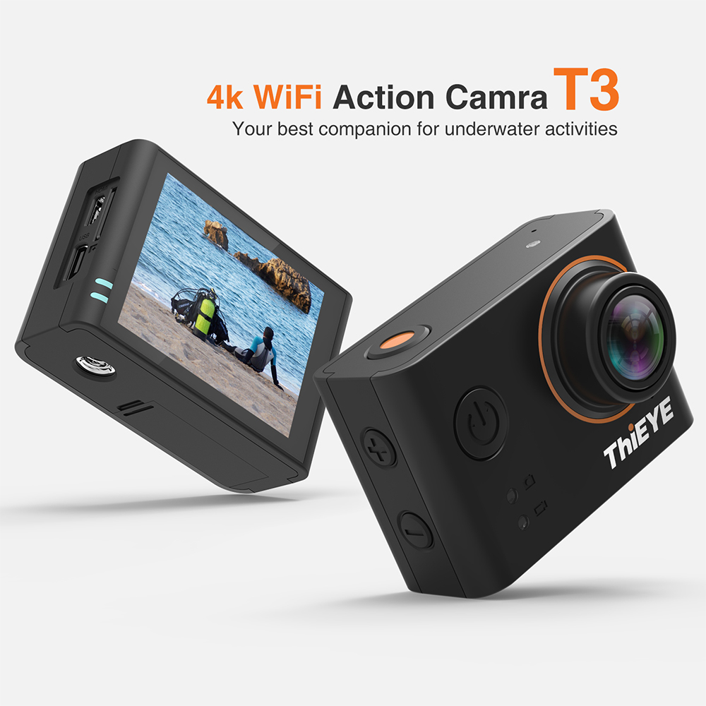 ThiEYE T3 Action Camera 4k/24fps 1080P Ultra HD WIFI 12M Pixels Sports Camera Rechargeable Waterproof Housing Go Extreme Pro Cam 2017 arrival original eken action camera h9 h9r 4k sport camera with remote hd wifi 1080p 30fps go waterproof pro actoin cam