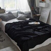 Черный сплошной цвет покрывало одеяло 200x230 см высокой плотности супер мягкие фланелевые одеяло на для диван/кровать/автомобиль портативный...