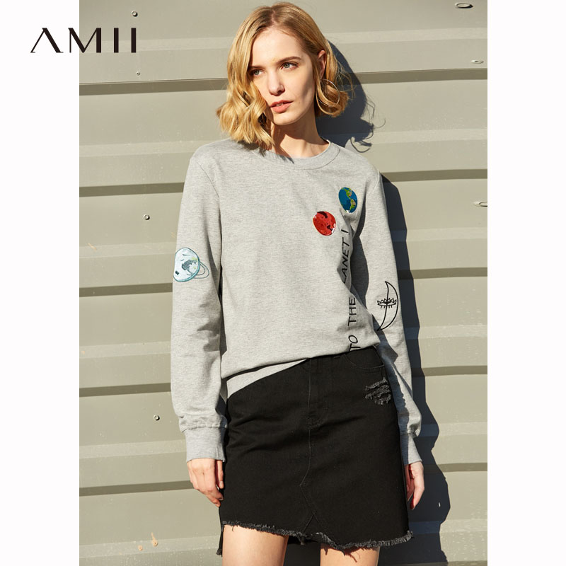 Amii Minimalist Embroidery Sweatshirt Women Spring 2019 Causal Solid O Neck 100 Cotton Long Sleeve Letters